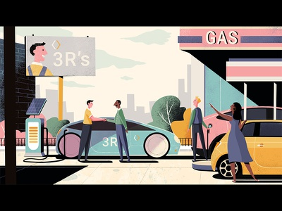 Recharge future electric car gas station background design animation illustration