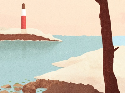Lookout illustration texture cd artwork panoramic cliff lighthouse tree water