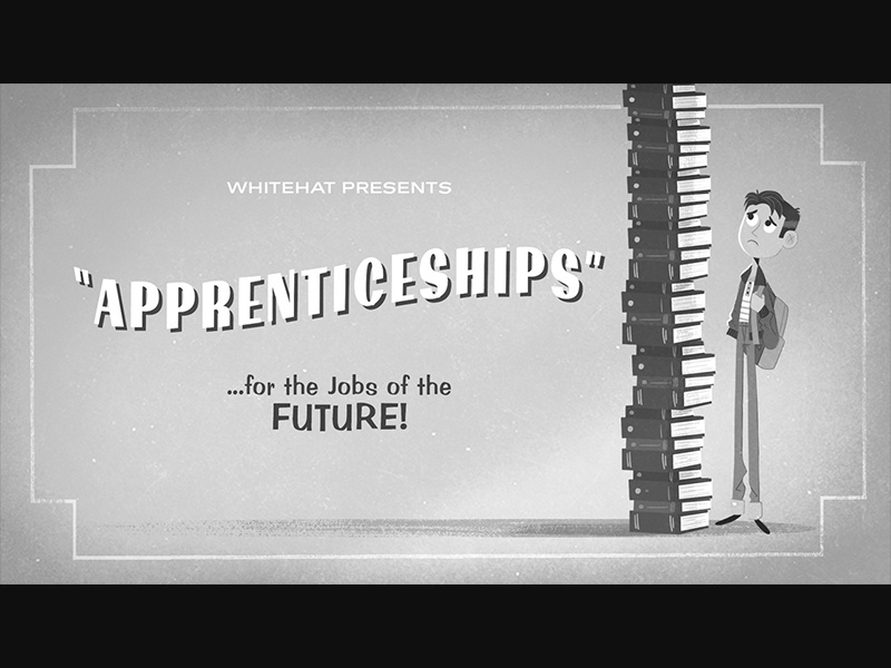 Whitehat - Apprenticeships cartoon title card animation illustration