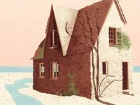 Holiday House illustration texture house shadow creek ocean vines windows