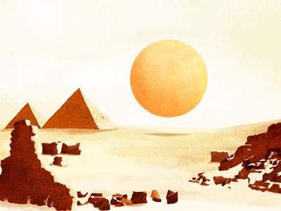 Dust illustration egypt work in progress sun sand desert pyramid cd cover