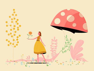Flora woman lady girl character miniature small mushroom flowers illustration