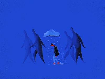 Void — 4. Bad Weather sad rain storm people strangers illustration
