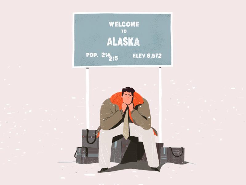 Northern Exposure luggage snow alaska winter illustration