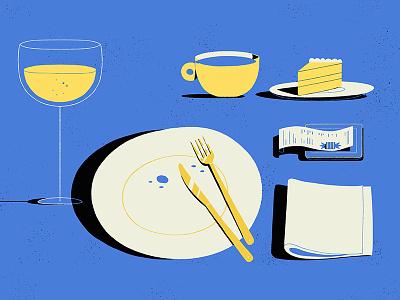 Dinner food wine dinner illustration