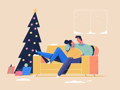 Couch Time snow relax male female presents living room couch christmas illustration