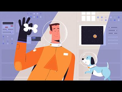 Good Boy fetch dog astronaut loop scifi space motion graphics mograph 2d animation animation
