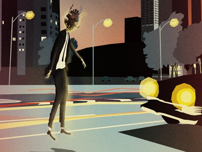 Sleepwalking illustration cd cover man heart machine car light dusk work in progress suit