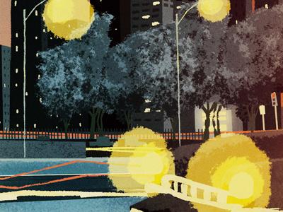 Night Driving illustration cd cover man heart car light headlights city trees tail lights
