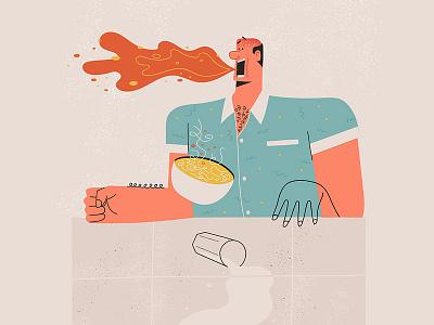 Spicey eating man noodles spicey illustration