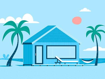 Beach Hut beach palm tree