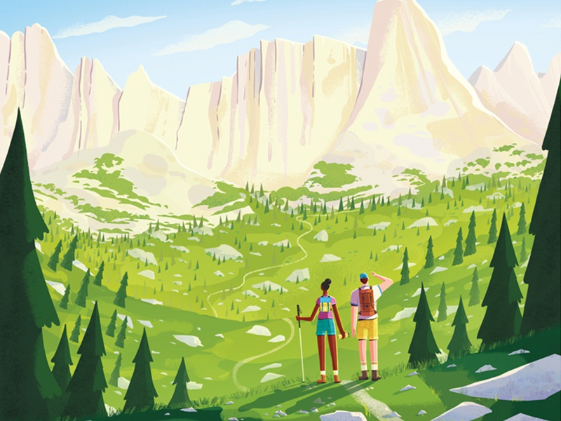 Continental Divide Trail trees mountains hiking nature illustration