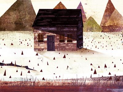 House house landscape tree soil grass mountains colours texture window leaves life