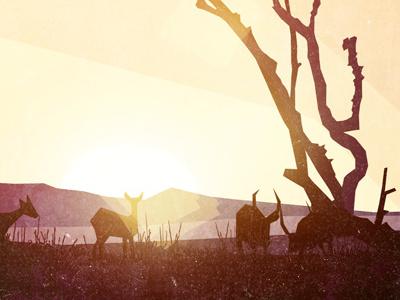 Scene 01 Africa illustration africa deer tree sun ground grass texture animation storyboard