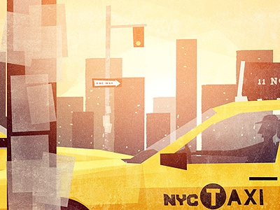 Scene 02 NYC illustration nyc new york city stop light one way pole paper driver man cab glow sunrise