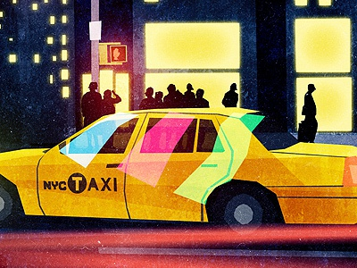 Scene 02 - NYC (3.0) illustration texture night lights crowd people glow taxi nyc new york