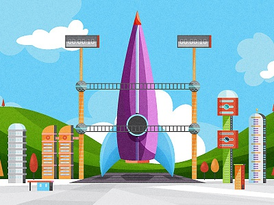 Launchpad illustration rocket buildings launchpad clouds sky mountains