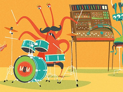 Monster Mix illustration drums mixer monster mo band