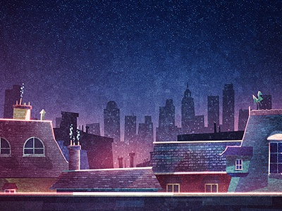 Rooftops illustration rooftops tiles chimney skyline lights city street