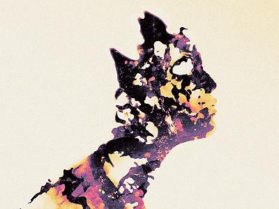 Molten illustration texture lava ooze goo shape abstract man