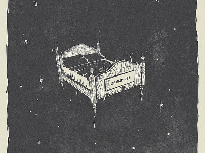Sleepyhead illustration bed space lost nightmares dreams ooze drips