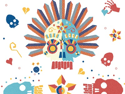 Skull + Bonin' illustration skull bones heart flower hand dead feather eyes jewels