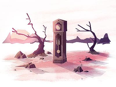 Time illustration cd artwork trees rocks mountains sun landscape ground texture