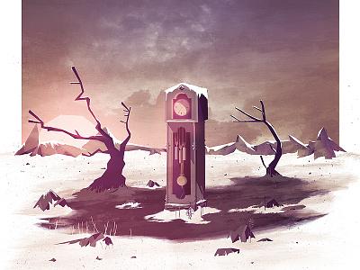Tik Tok illustration cd cover clock grandfather clock tree snow mud time sky texture