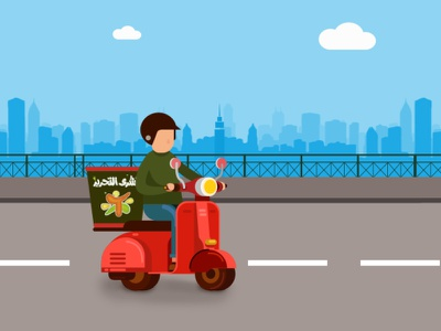 Delivery man koshary motorbike bike man restaurant delivery motorcycle motion illustration motion design motion game art digital painting drawing egypt digital study art vector design illustration