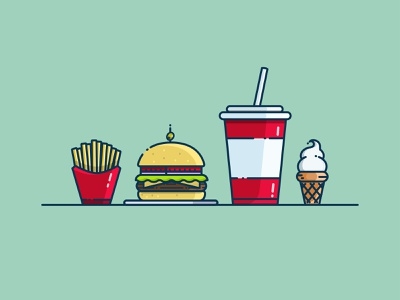 FOOD ice cream french fries soda fast food hamburger food illustrator cc illustrator illustration art vector illustration design