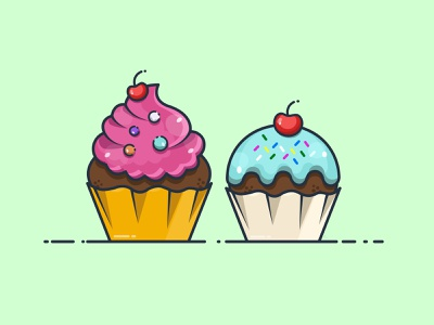 DESSERT TIME! candy cup cake color cherry dessert vector design illustrator cc illustration art illustration