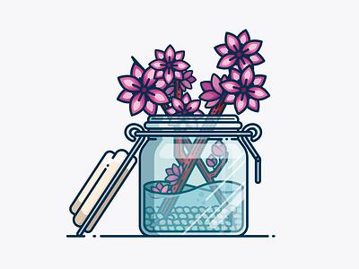 Flower vase illusion glass art line art line shapes drawing nature illustration plants detail icon crystal vase flower design vector illustration art illustration