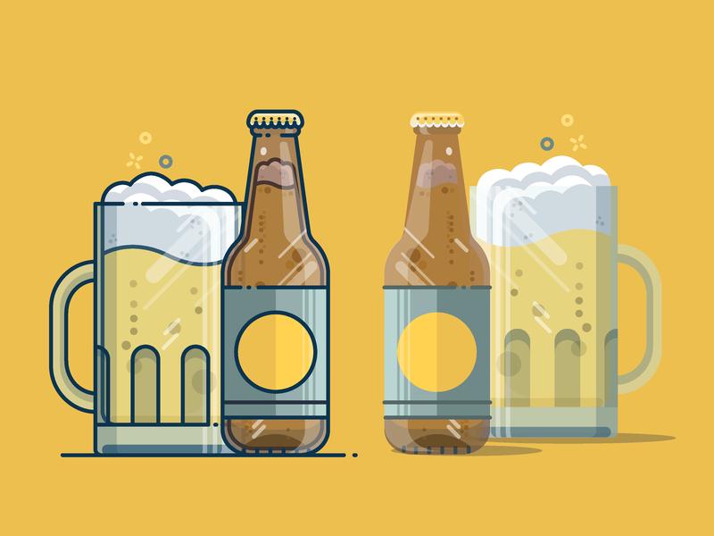 Beer drawing time vacations sunrise summer drink beer art beer detail digitalillustration design icon vector illustrator cc illustration art illustration