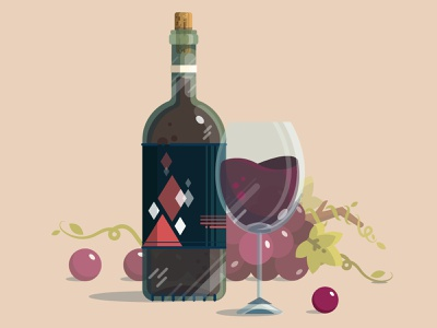 Wine drawing crystal cup grapes taste winelover redwine wine detail icon digitalillustration vector design art illustrator cc illustration art illustration