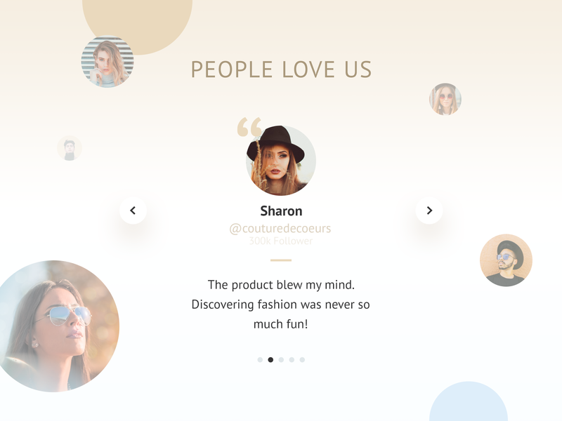Fashion Product Landing Page Trust Section quotation mark follower carousel profile picture influencers landingpage trust quotes testimonials