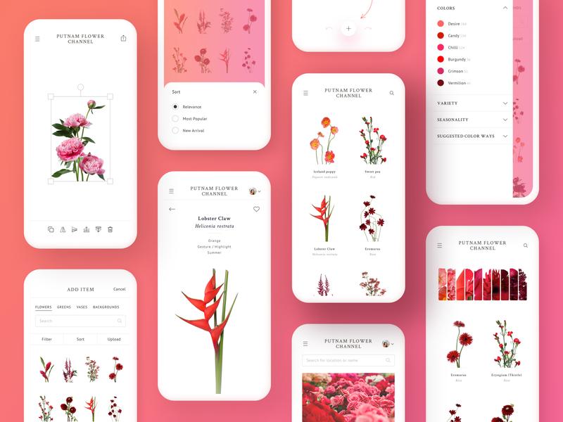 Flower Channel Design white web design uidesign ui design ui  ux ui product design mobile minimalistic minimal interface flowers design colorful clean pink red app