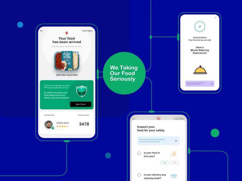 A Secured Food Delivery App xddailychallenge interaction illustration website prototype coronavirus covid19 mobile app app ui design ux
