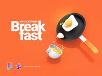 My Lockdown Breakfast graphicdesign covid19 3d art vector illustration mobile app branding website ui design