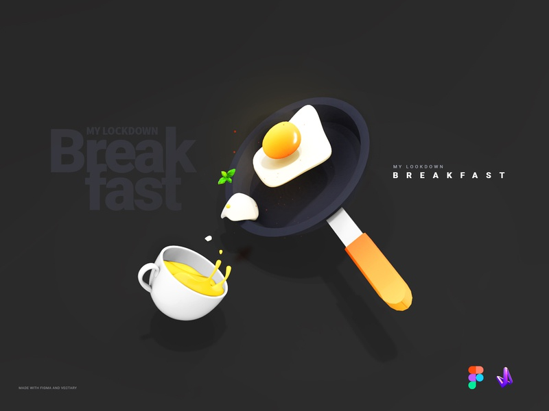 My Lockdown Breakfast-Part 02 creative illustration mobile app prototype 3d models vectary 3d interaction ui design
