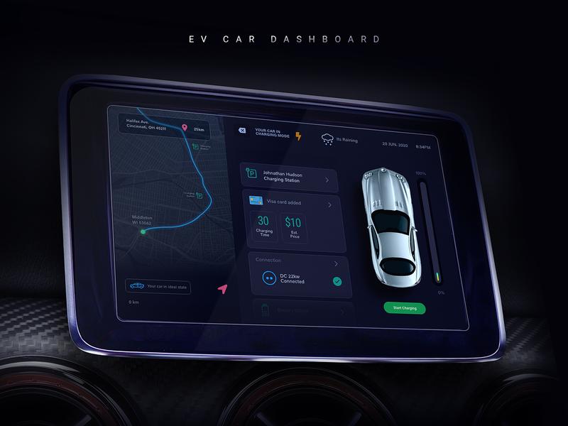 Electric Car Dashboard UI Design electric car car dashboard mobile app creative interaction ux ui design