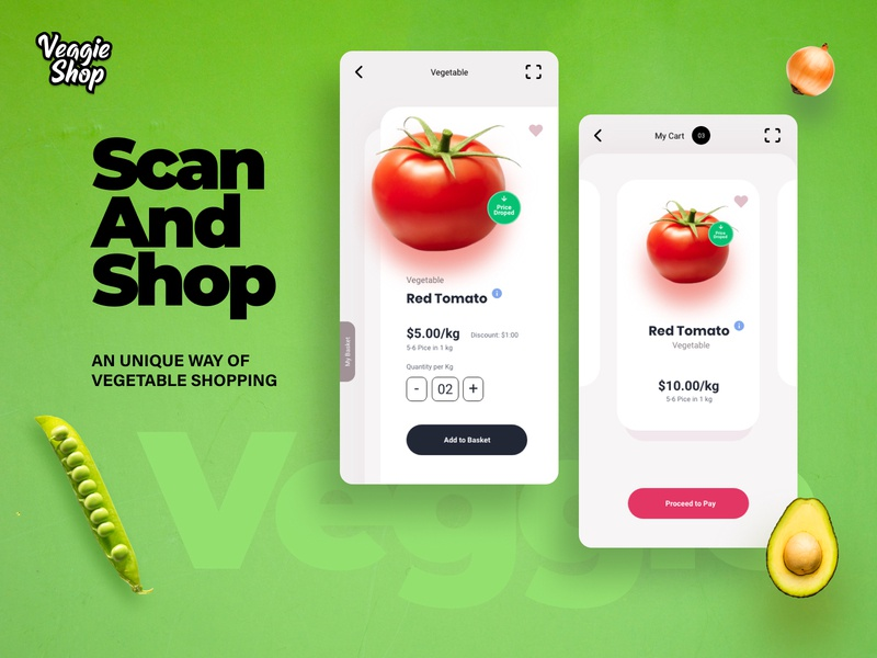 Scan and Shop-An Online Shopping Experience animation dailyui mobile app illustration online shopping veggie prototype app interaction ui design