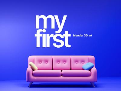 3D Sofa-My First Model ui design prototype branding website creative blender3d 3d art