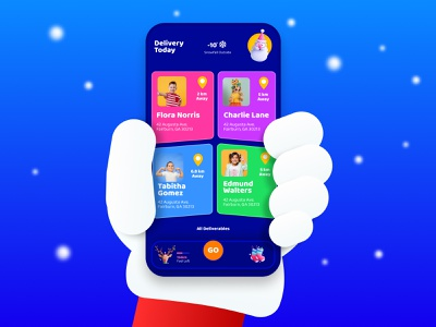 Santa's Delivery app | Gift Delivery Mobile App illustration design prototype christmas tree mobile app interaction gift box delivery app holiday santaclaus christmas party