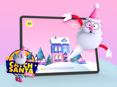 Catch Santa | A Conceptual Game Design | Prototype Game illustration madewithadobexd xddailychallenge holiday design santa uiux prototype animation interactiondesign game design