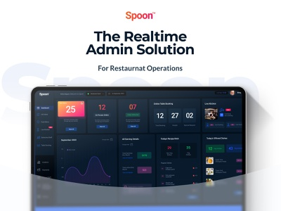 Spoon-The Restaurant Saas Dashboard delivery app restaurant foodie interaction ux ui design mobile app creative branding website webapp design darkui dashboard