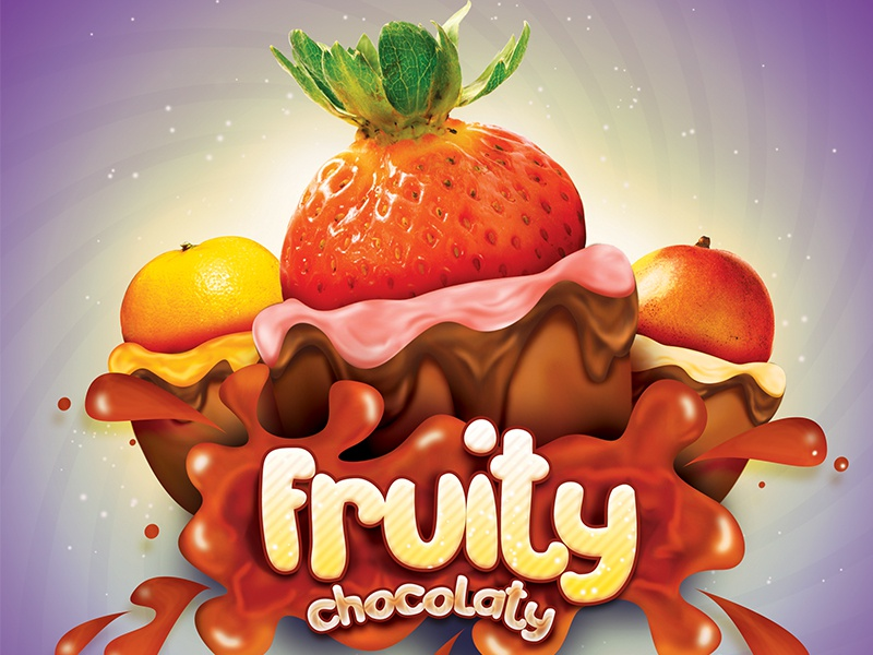 Fruit Candy Poster Ad candy fruit strawberry chocolate cream jelly bean green orange