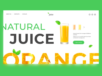 concept orange juice concept webdesign web ux ui juice landing interface homepage e-commerce dailyui daily creativity colour appdesign