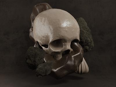 Abstract Skull design skull art skulls rock rocks wood natural organic sculpture contemporary still life 3d artist 3d art 3d blender3dart blender 3d blender3d blender abstract skull