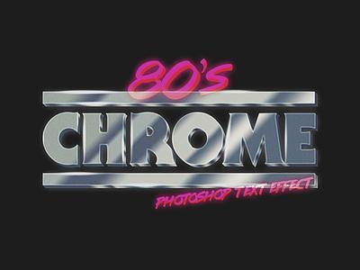 80's Chrome Photoshop Text Effect vintage retro creative market layer style text effect typography type text photoshop brush chrome 80s