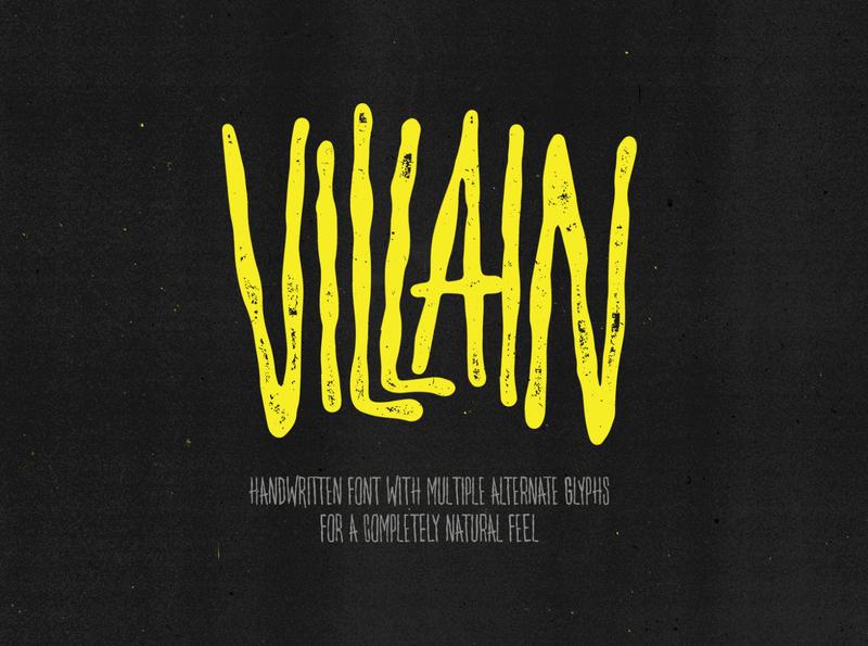 Villain — Multi-Alternate Glyph Font font family logo font design halloween font font illustration design art texture